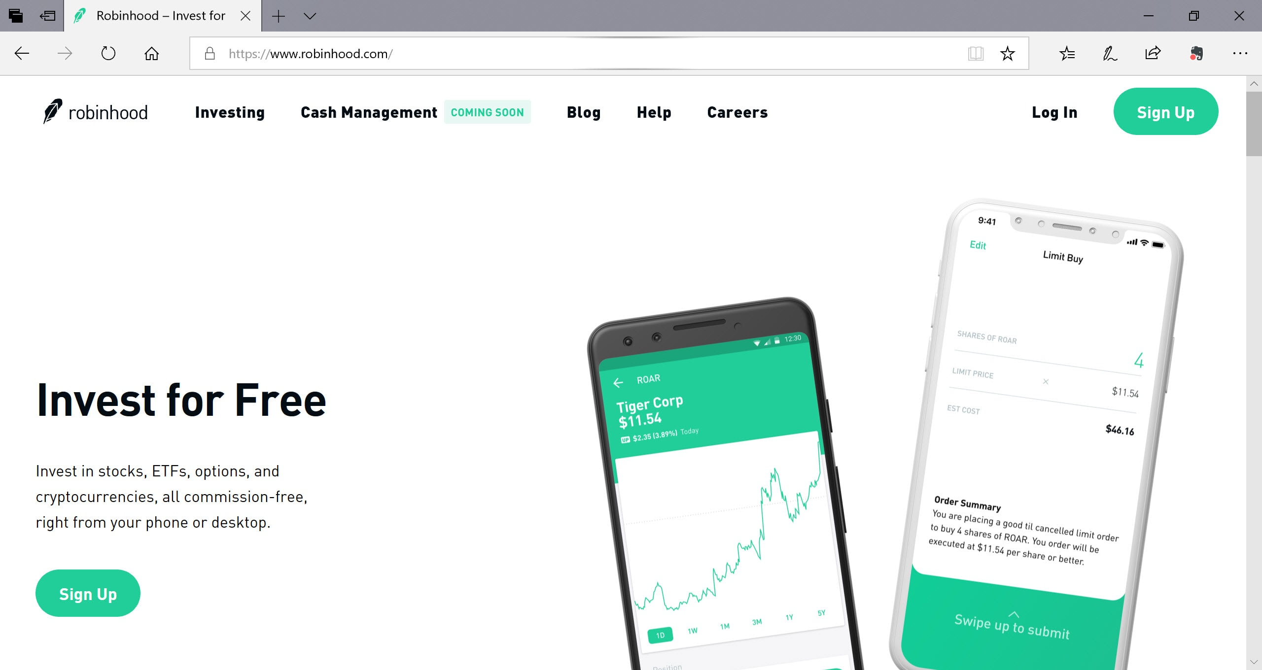 Robinhood Commission-Free Investing Size Centimeters