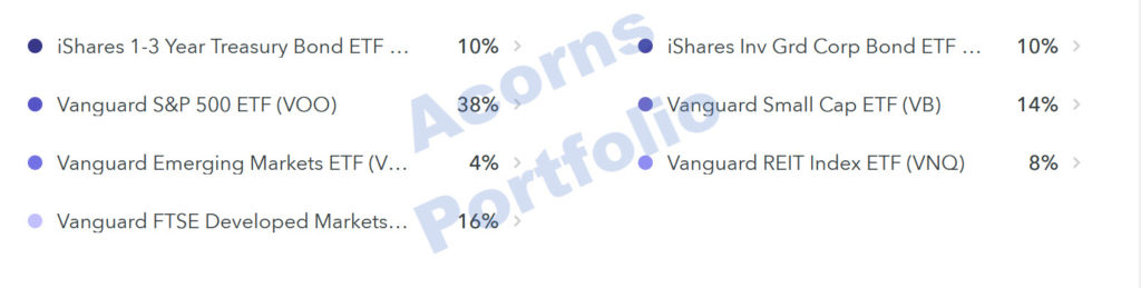 vanguard in acorns portfolio